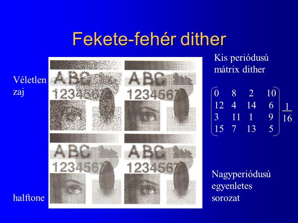 Fekete-fehér dither Kis periódusú mátrix dither 0 8 2 10 Véletlen