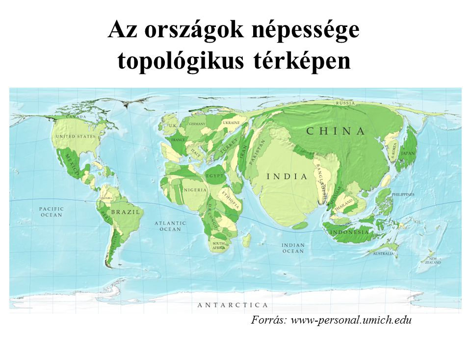 Az országok népessége topológikus térképen