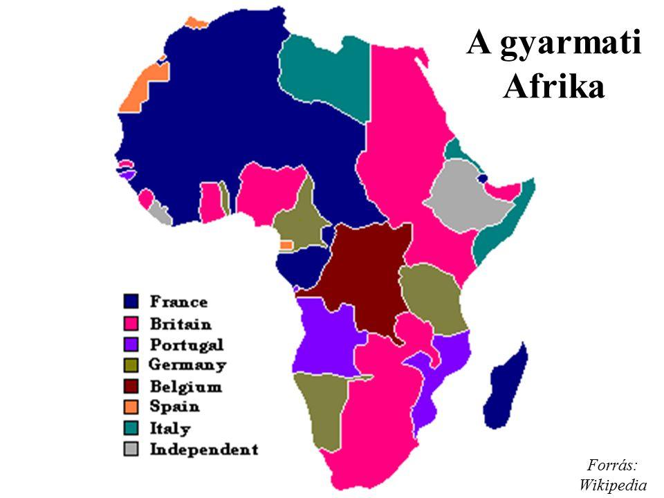 A gyarmati Afrika Forrás: Wikipedia