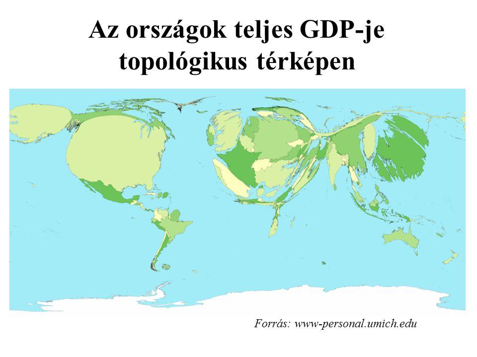 Az országok teljes GDP-je topológikus térképen
