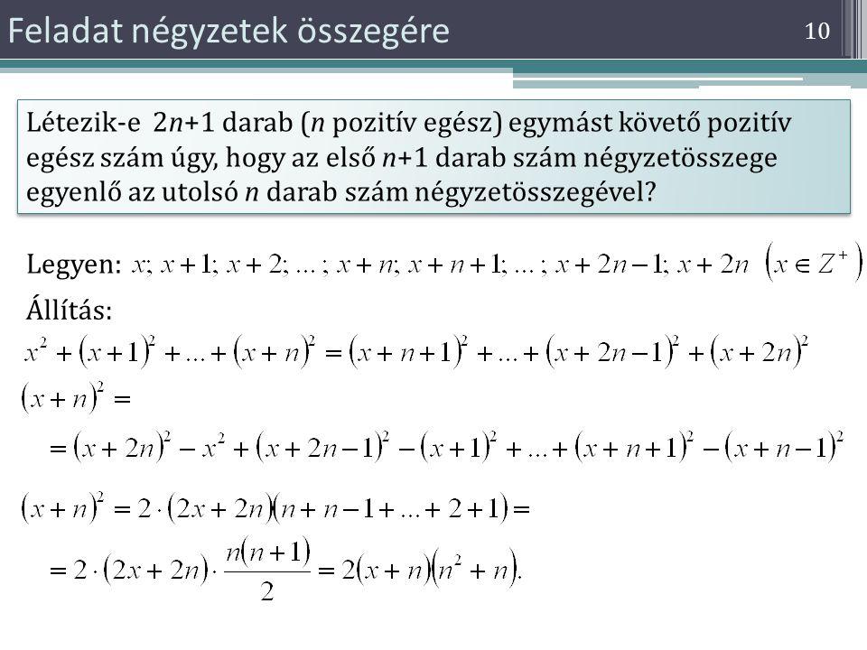 Feladat négyzetek összegére