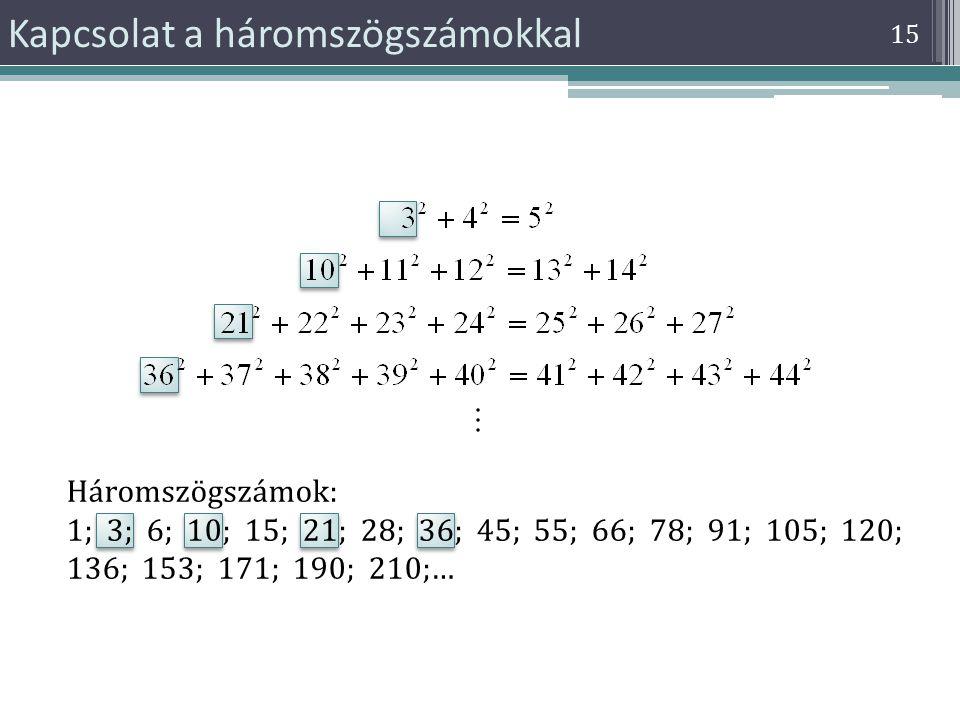 Kapcsolat a háromszögszámokkal