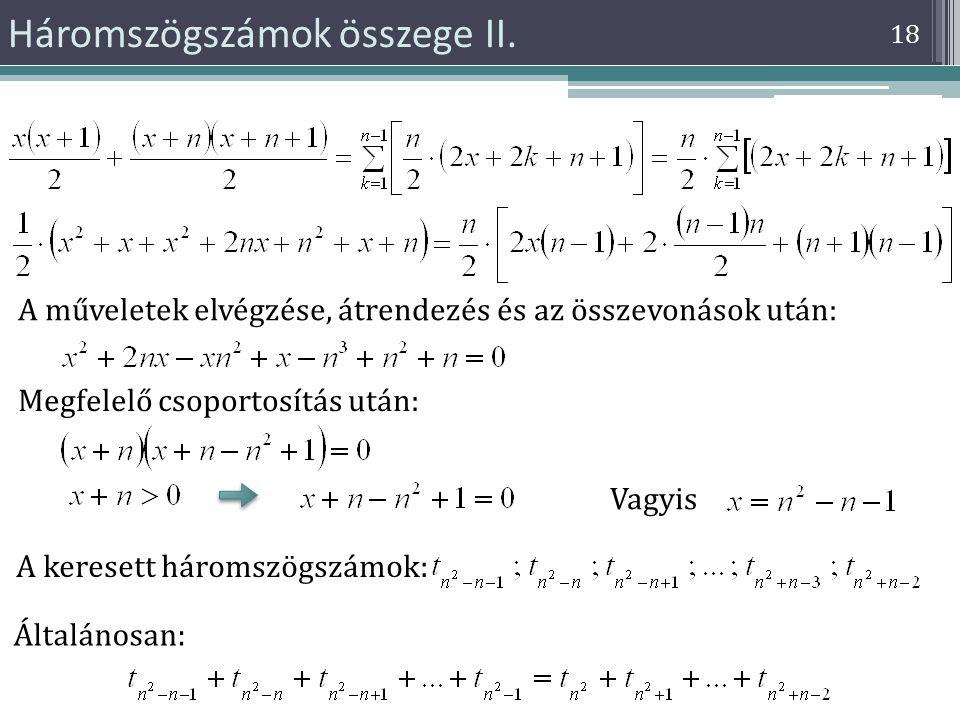 Háromszögszámok összege II.