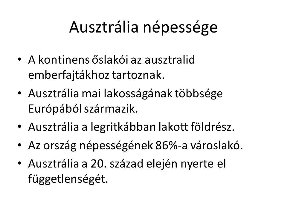 Ausztrália népessége A kontinens őslakói az ausztralid emberfajtákhoz tartoznak. Ausztrália mai lakosságának többsége Európából származik.