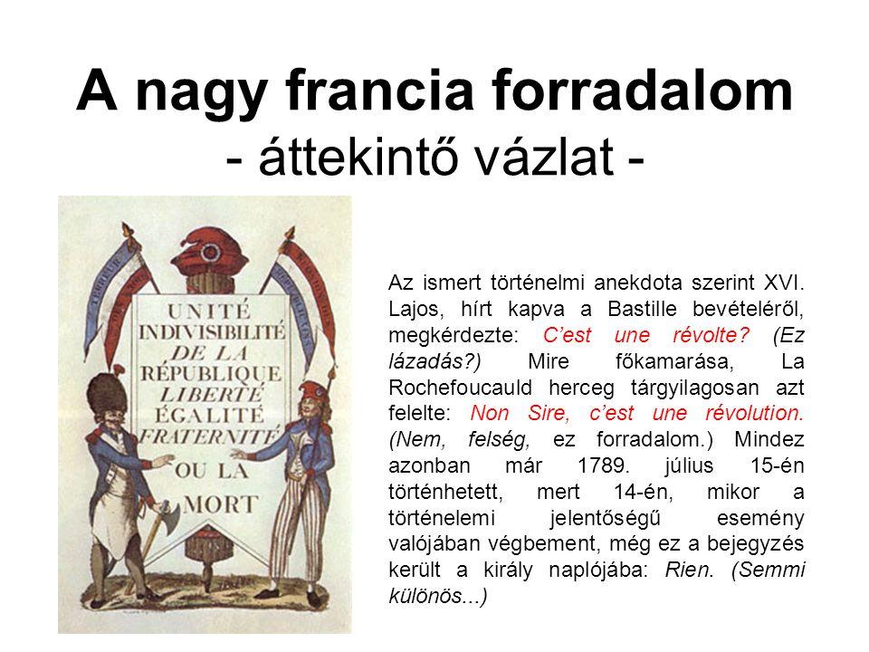 A nagy francia forradalom - áttekintő vázlat -