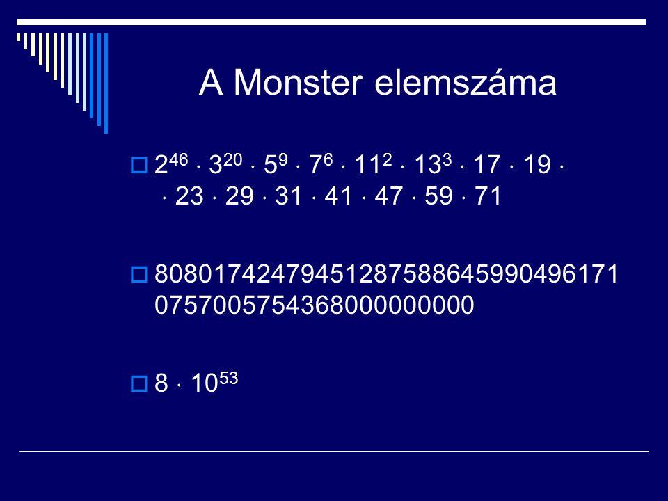 A Monster elemszáma 246  320  59  76  112  133  17  19   23  29  31  41  47  59  71.