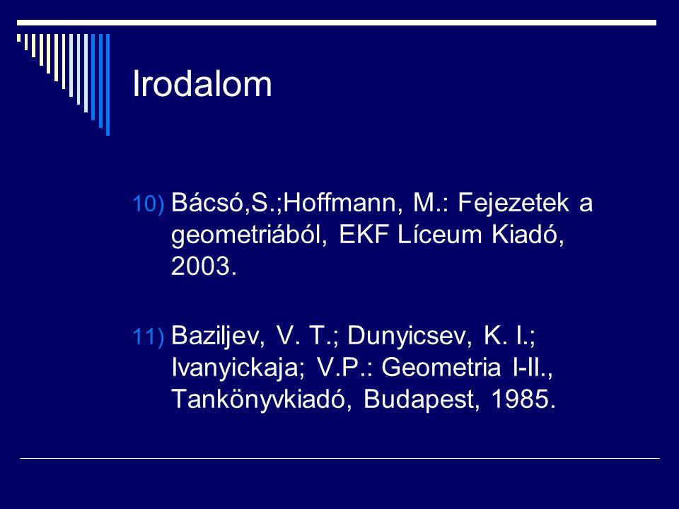 Irodalom Bácsó,S.;Hoffmann, M.: Fejezetek a geometriából, EKF Líceum Kiadó, 2003.