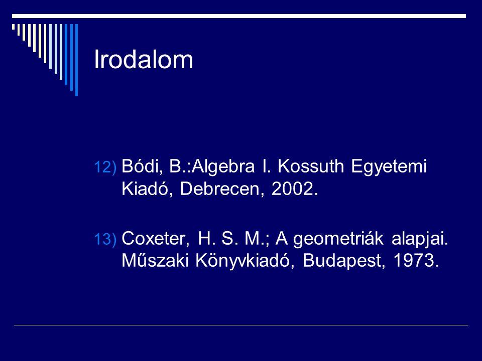 Irodalom Bódi, B.:Algebra I. Kossuth Egyetemi Kiadó, Debrecen, 2002.