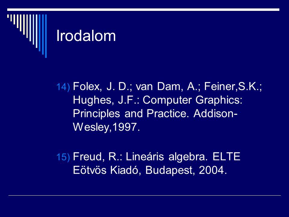 Irodalom Folex, J. D.; van Dam, A.; Feiner,S.K.; Hughes, J.F.: Computer Graphics: Principles and Practice. Addison-Wesley,1997.