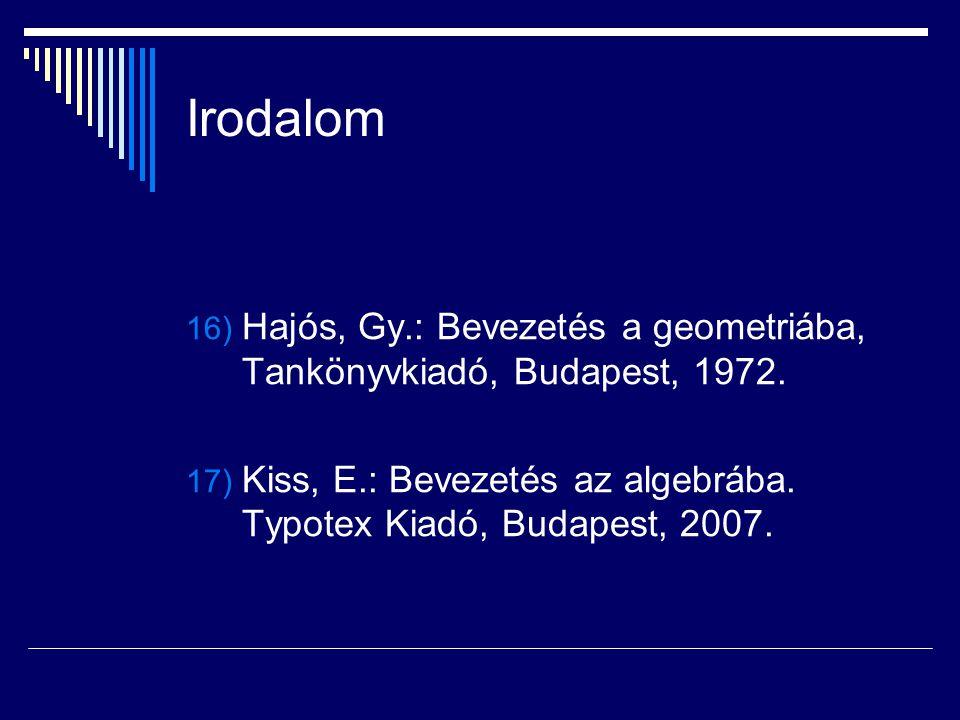 Irodalom Hajós, Gy.: Bevezetés a geometriába, Tankönyvkiadó, Budapest, 1972.
