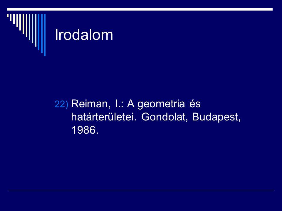 Irodalom Reiman, I.: A geometria és határterületei. Gondolat, Budapest, 1986.