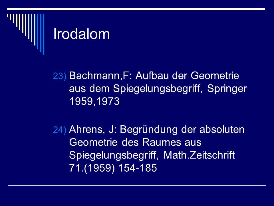 Irodalom Bachmann,F: Aufbau der Geometrie aus dem Spiegelungsbegriff, Springer 1959,1973.