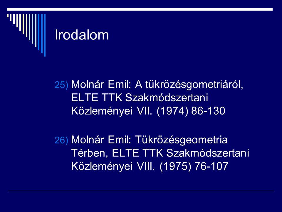 Irodalom Molnár Emil: A tükrözésgometriáról, ELTE TTK Szakmódszertani Közleményei VII. (1974) 86-130.