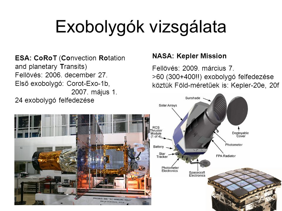 Exobolygók vizsgálata