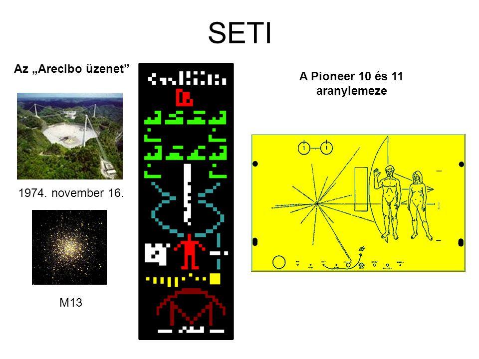 """SETI Az """"Arecibo üzenet A Pioneer 10 és 11 aranylemeze"""