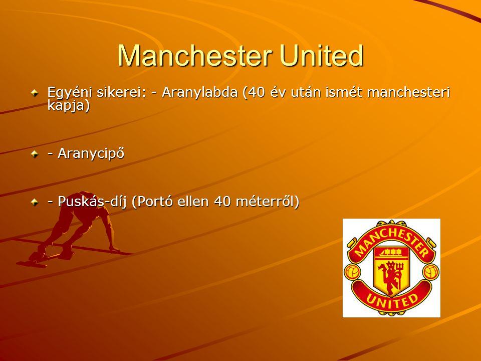 Manchester United Egyéni sikerei: - Aranylabda (40 év után ismét manchesteri kapja) - Aranycipő.