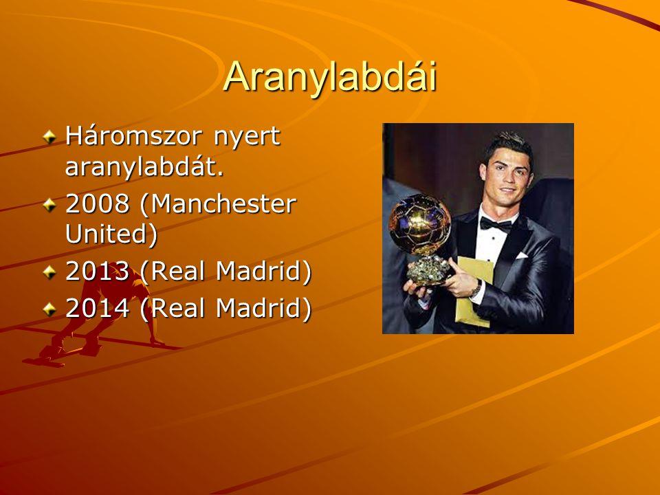 Aranylabdái Háromszor nyert aranylabdát. 2008 (Manchester United)