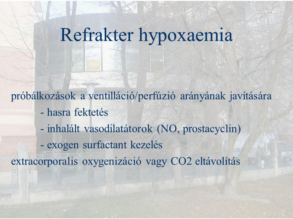 Refrakter hypoxaemia próbálkozások a ventilláció/perfúzió arányának javítására. - hasra fektetés. - inhalált vasodilatátorok (NO, prostacyclin)