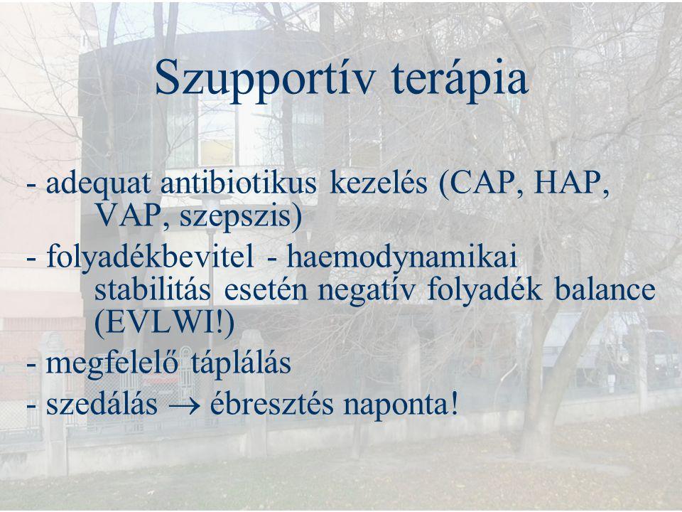 Szupportív terápia - adequat antibiotikus kezelés (CAP, HAP, VAP, szepszis)