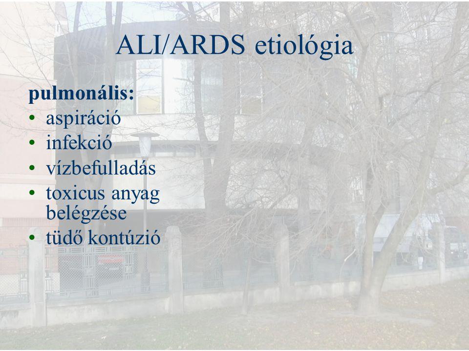 ALI/ARDS etiológia pulmonális: aspiráció infekció vízbefulladás