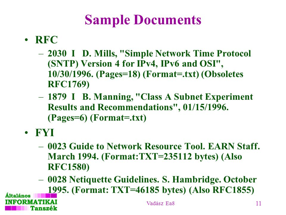 Sample Documents RFC FYI