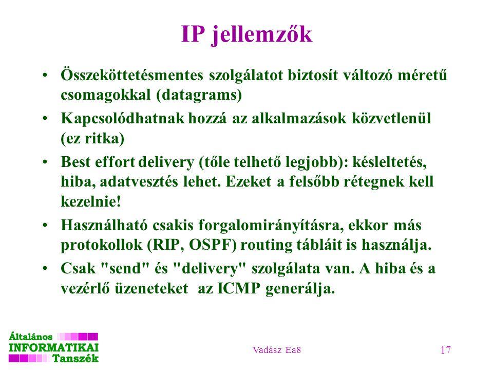 IP jellemzők Összeköttetésmentes szolgálatot biztosít változó méretű csomagokkal (datagrams)