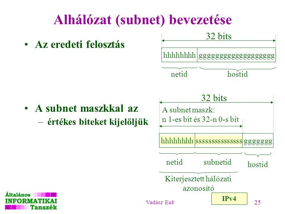 Alhálózat (subnet) bevezetése