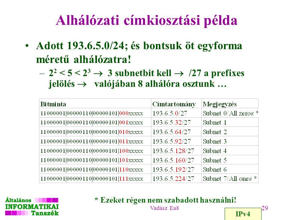 Alhálózati címkiosztási példa