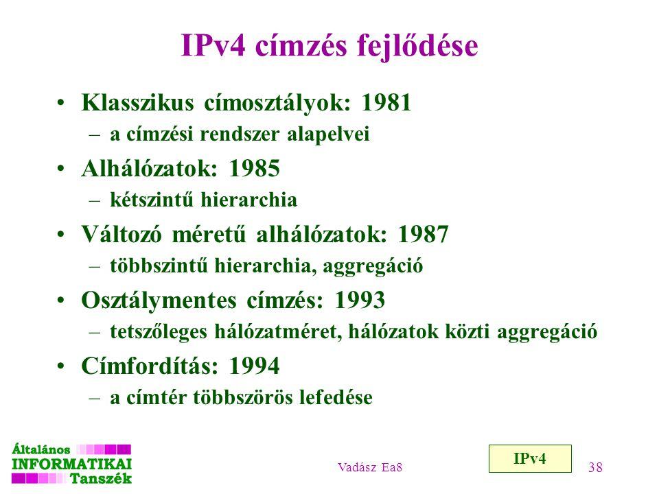 IPv4 címzés fejlődése Klasszikus címosztályok: 1981 Alhálózatok: 1985