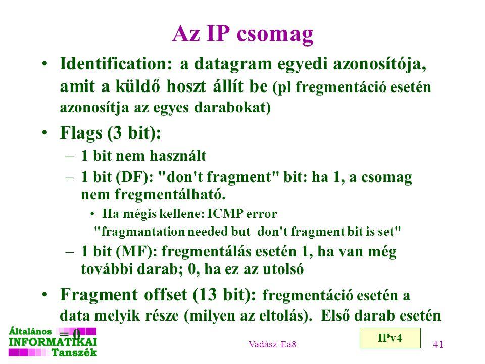 Az IP csomag Identification: a datagram egyedi azonosítója, amit a küldő hoszt állít be (pl fregmentáció esetén azonosítja az egyes darabokat)