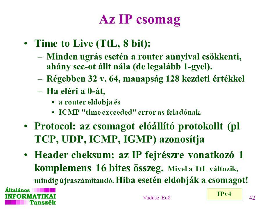 Az IP csomag Time to Live (TtL, 8 bit):