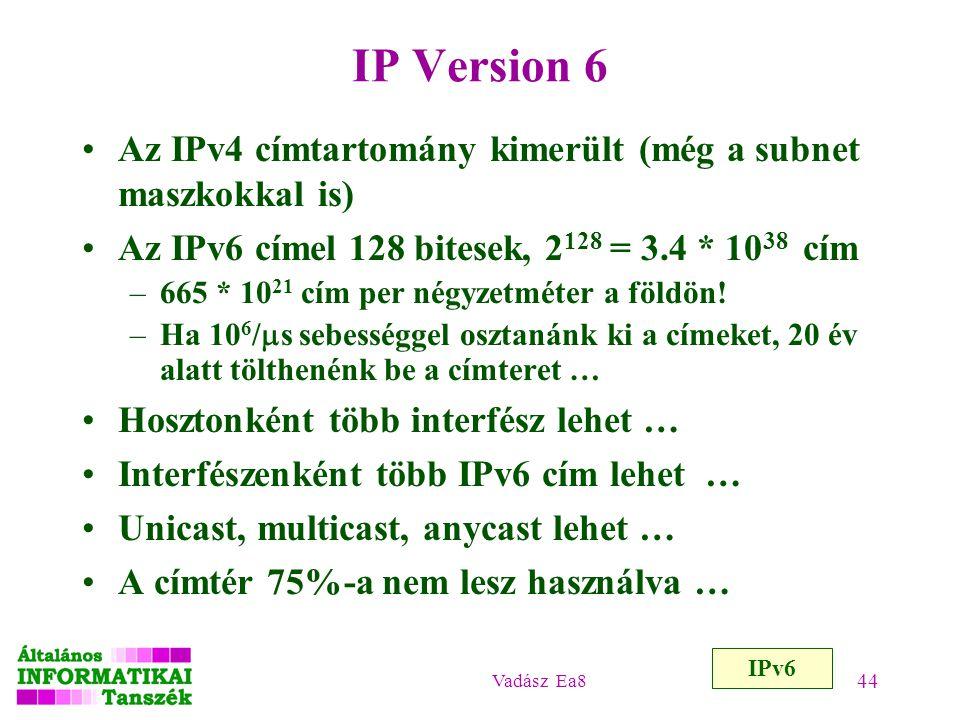 IP Version 6 Az IPv4 címtartomány kimerült (még a subnet maszkokkal is) Az IPv6 címel 128 bitesek, 2128 = 3.4 * 1038 cím.