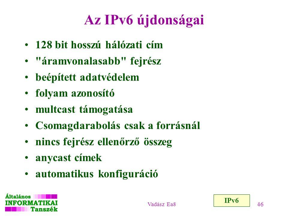 Az IPv6 újdonságai 128 bit hosszú hálózati cím