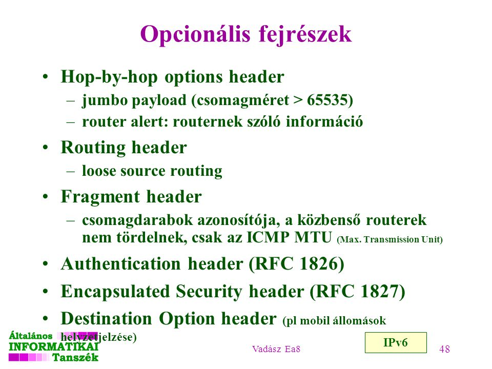 Opcionális fejrészek Hop-by-hop options header Routing header