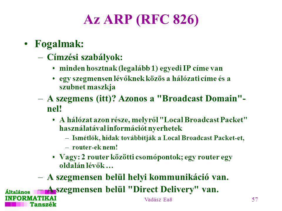 Az ARP (RFC 826) Fogalmak: Címzési szabályok: