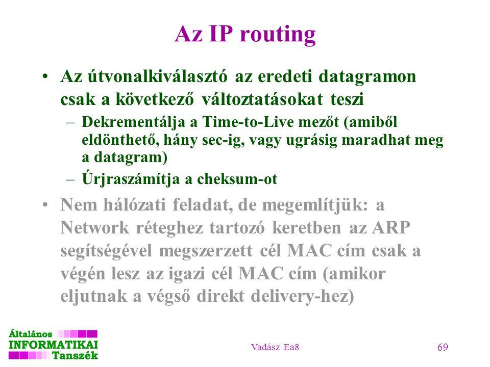 Az IP routing Az útvonalkiválasztó az eredeti datagramon csak a következő változtatásokat teszi.
