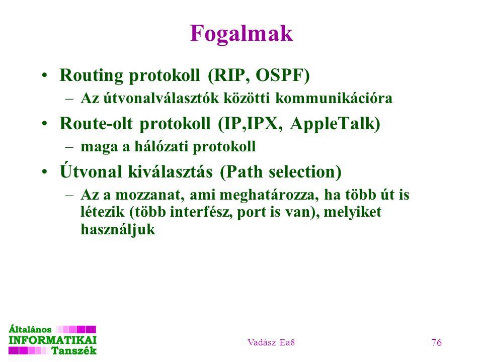 Fogalmak Routing protokoll (RIP, OSPF)