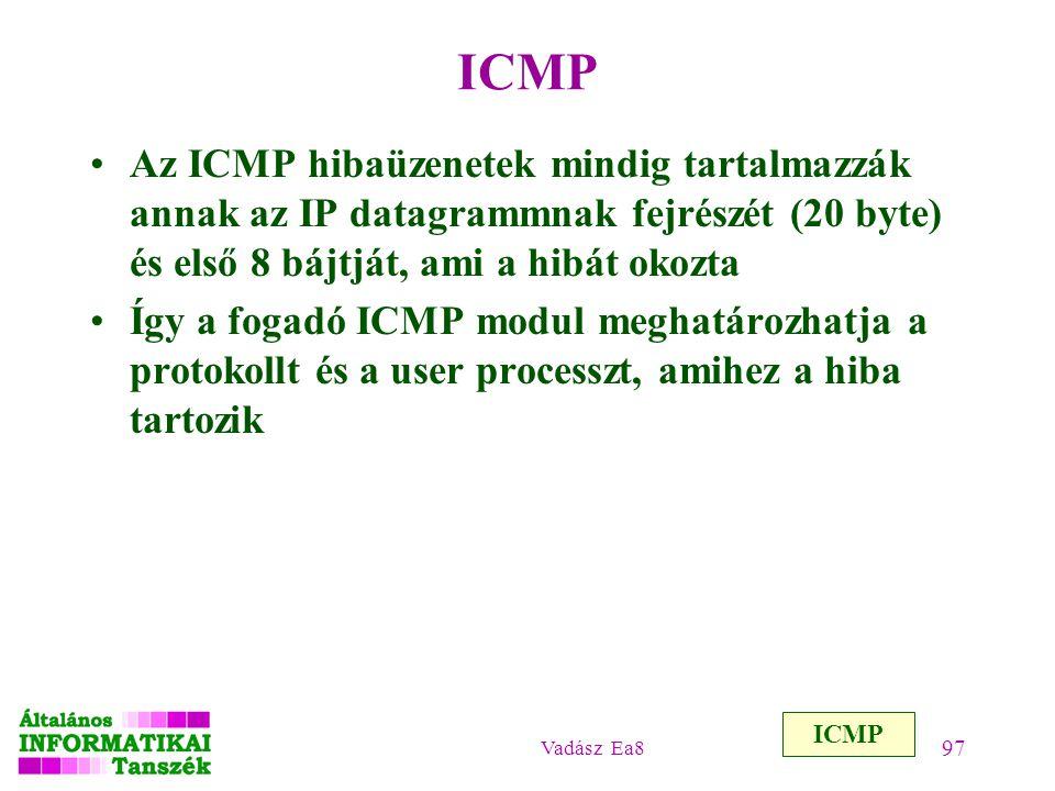ICMP Az ICMP hibaüzenetek mindig tartalmazzák annak az IP datagrammnak fejrészét (20 byte) és első 8 bájtját, ami a hibát okozta.