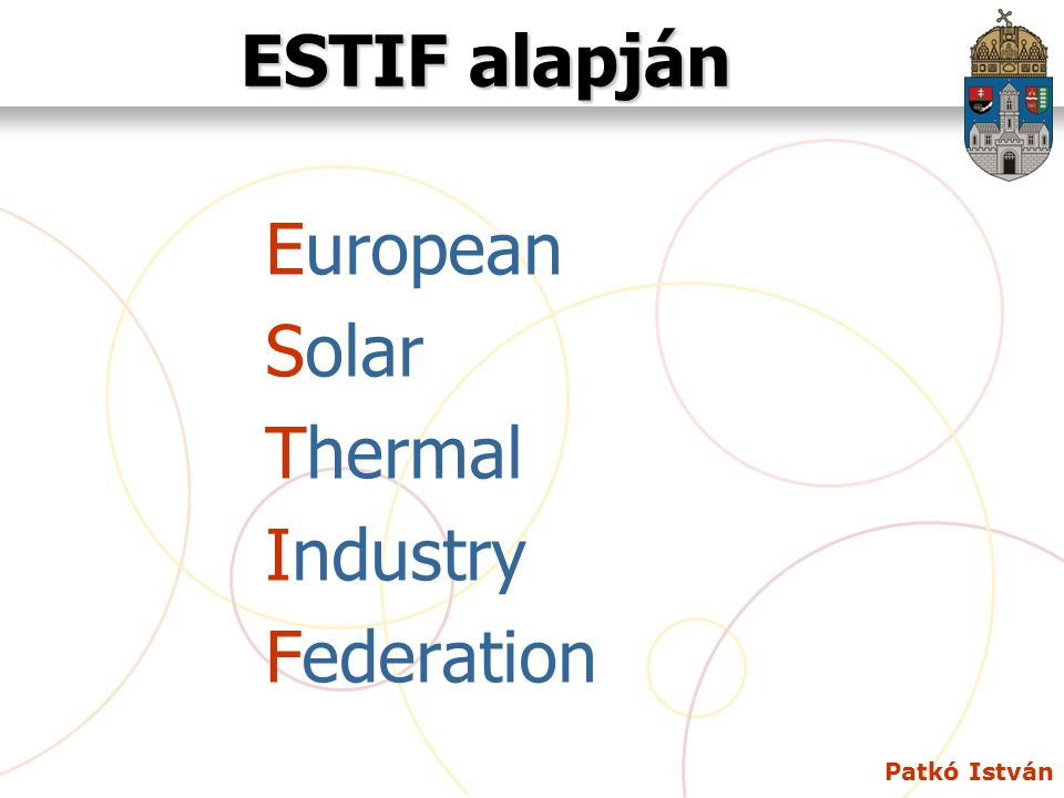 ESTIF alapján European Solar Thermal Industry Federation Patkó István