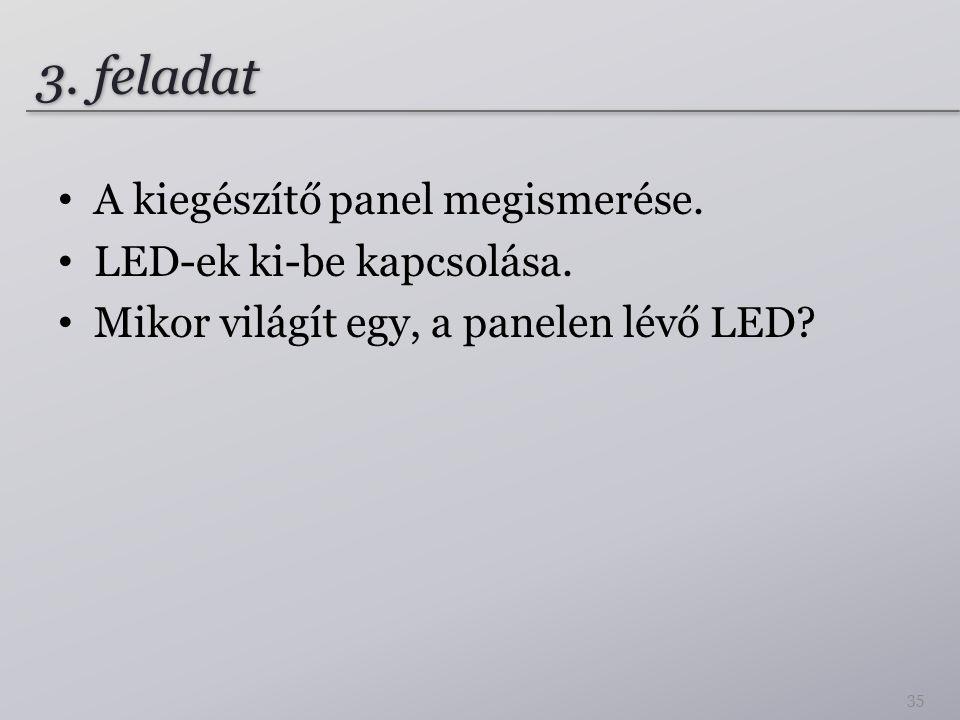 3. feladat A kiegészítő panel megismerése. LED-ek ki-be kapcsolása.