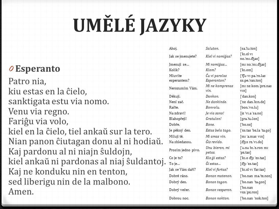 UMĚLÉ JAZYKY Esperanto