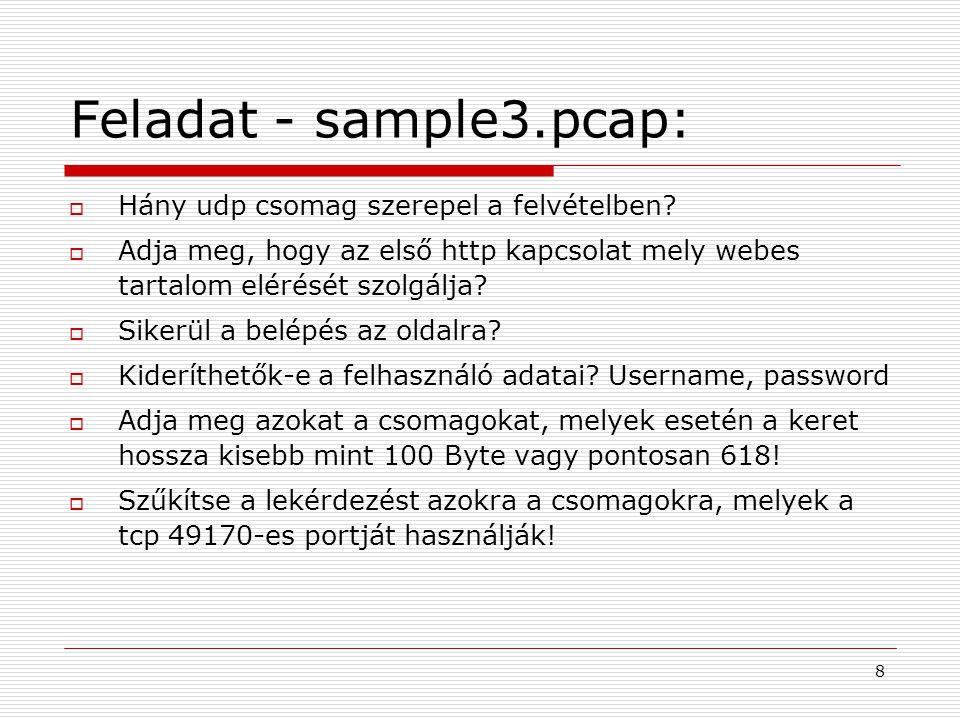 Feladat - sample3.pcap: Hány udp csomag szerepel a felvételben