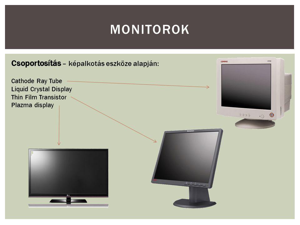 Monitorok Csoportosítás – képalkotás eszköze alapján: Cathode Ray Tube