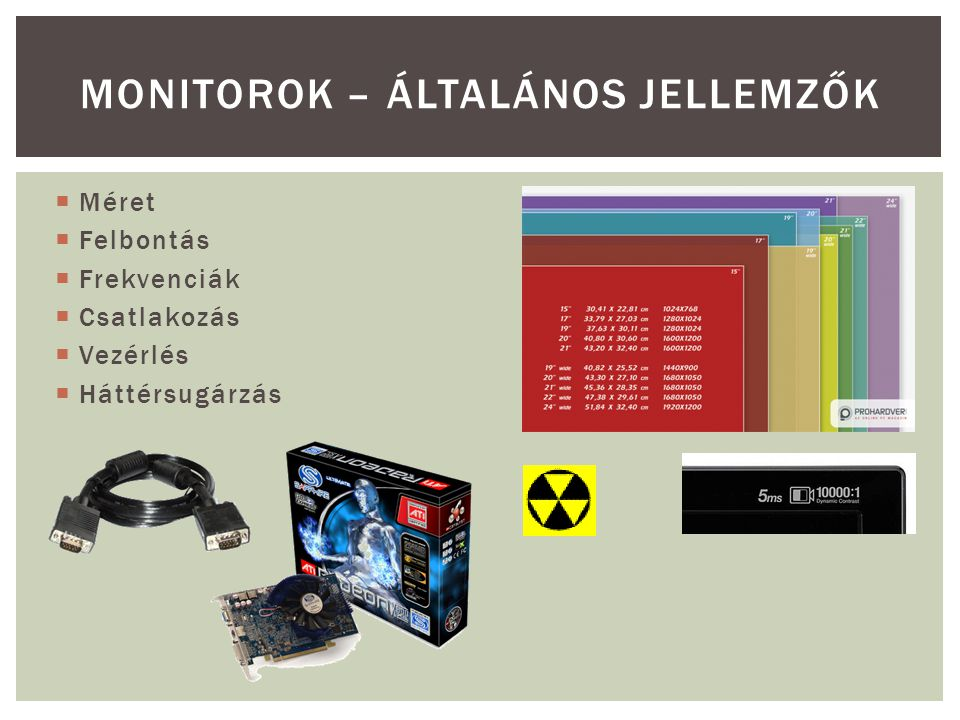 Monitorok – általános jellemzők
