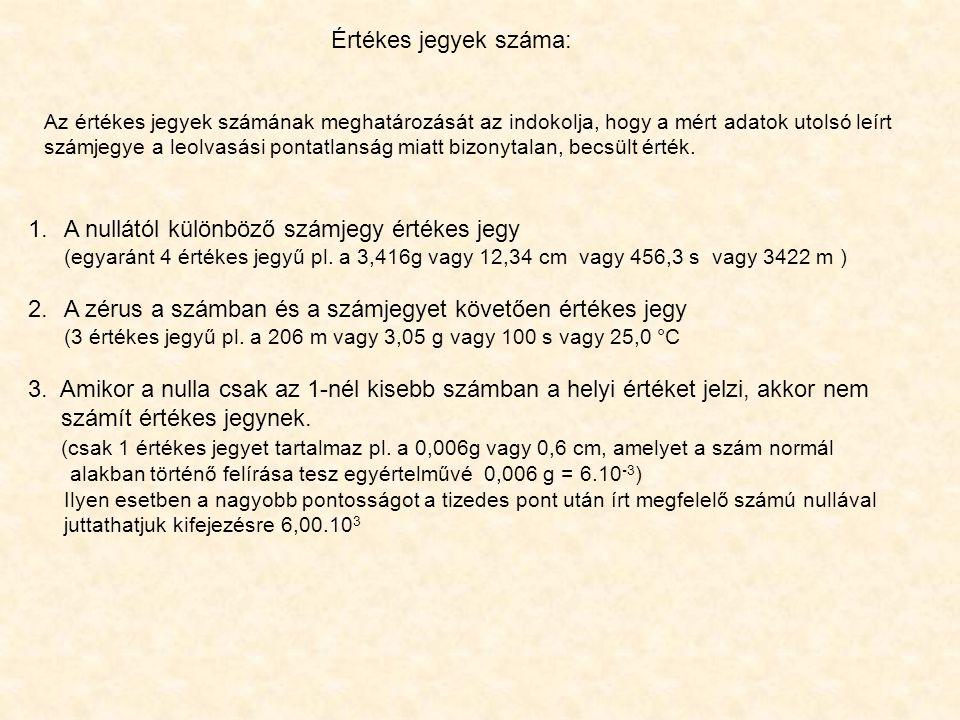 A nullától különböző számjegy értékes jegy