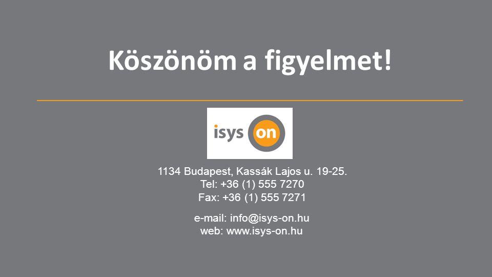 Köszönöm a figyelmet! 1134 Budapest, Kassák Lajos u. 19-25.