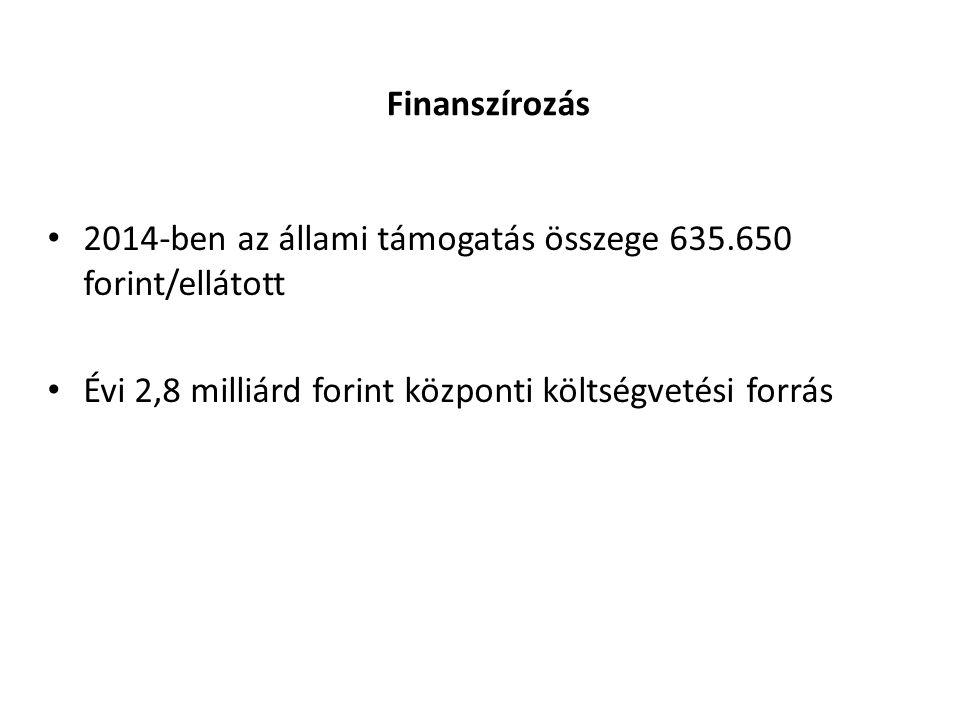 Finanszírozás 2014-ben az állami támogatás összege 635.650 forint/ellátott.