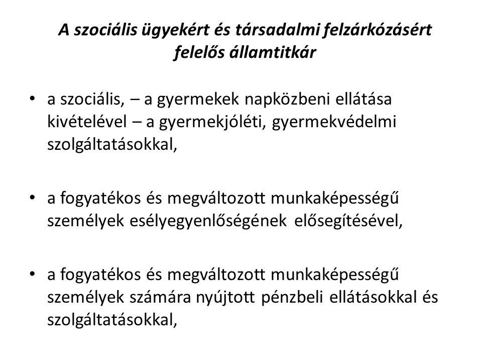 A szociális ügyekért és társadalmi felzárkózásért felelős államtitkár