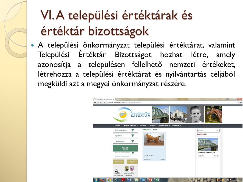 VI. A települési értéktárak és értéktár bizottságok