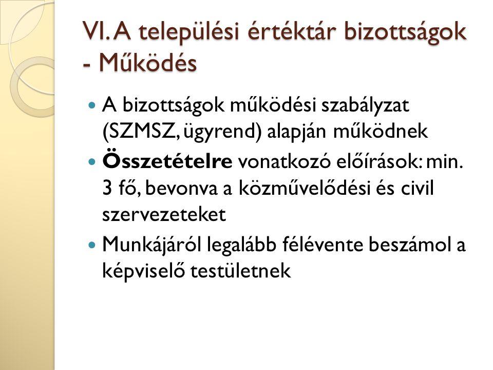VI. A települési értéktár bizottságok - Működés